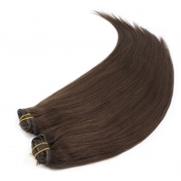 16 inch (40cm) Deluxe clip in human REMY hair - dark brown