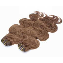 20 inch (50cm) Deluxe wavy clip in human REMY hair - medium brown