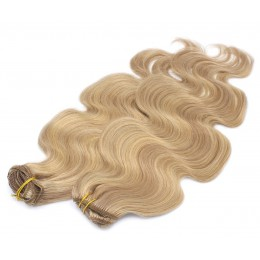 20 inch (50cm) Deluxe wavy clip in human REMY hair - light blonde/natural blonde