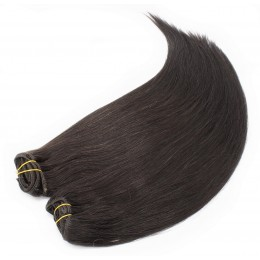 28 inch (70cm) Deluxe clip in human REMY hair - natural black