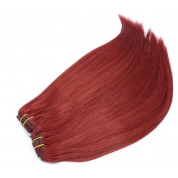 24 inch (60cm) Deluxe clip in human REMY hair -  copper red