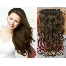 One piece full head 5 clips clip in hair weft extensions wavy – dark brown