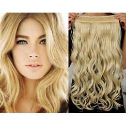 One piece full head 5 clips clip in hair weft extensions wavy – the lightest blonde