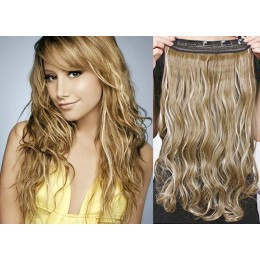 One piece full head 5 clips clip in hair weft extensions wavy – mixed blonde