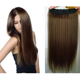 20 inches one piece full head 5 clips clip in hair weft extensions straight – dark brown