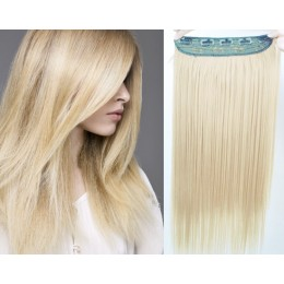 20 inches one piece full head 5 clips clip in hair weft extensions straight – the lightest blonde
