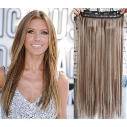 24 inches one piece full head 5 clips clip in hair weft extensions straight – dark brown / blonde