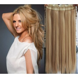 24 inches one piece full head 5 clips clip in hair weft extensions straight – mixed blonde
