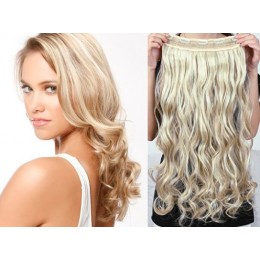 20 inches one piece full head 5 clips clip in hair weft extensions wavy – light blonde / natural blonde