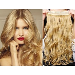 24 inches one piece full head 5 clips clip in hair weft extensions wavy – light brown