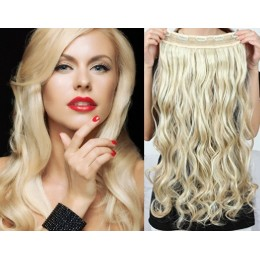 24 inches one piece full head 5 clips clip in hair weft extensions wavy – the lightest blonde