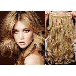 24 inches one piece full head 5 clips clip in hair weft extensions wavy – mixed blonde