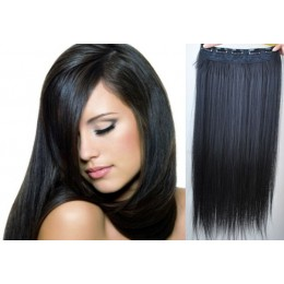 16 inches one piece full head 5 clips clip in kanekalon weft extensions straight – black