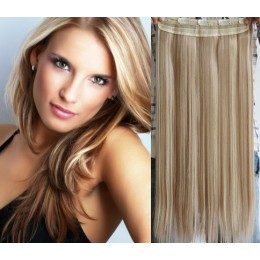 24 inches one piece full head 5 clips clip in kanekalon weft straight – platinum / light brown