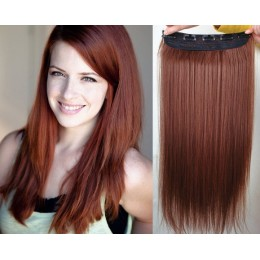 24 inches one piece full head 5 clips clip in kanekalon weft straight – copper red