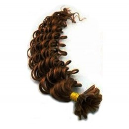 24 inch (60cm) Nail tip / U tip human hair pre bonded extensions curly - medium brown
