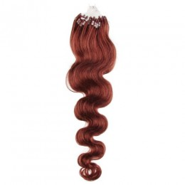 20 inch (50cm) Micro ring / easy ring human hair extensions wavy - copper red