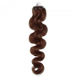 24 inch (60cm) Micro ring / easy ring human hair extensions wavy - medium brown