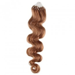 24 inch (60cm) Micro ring / easy ring human hair extensions wavy - light brown