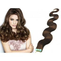 24 inch (60cm) Tape Hair / Tape IN human REMY hair wavy - medium brown