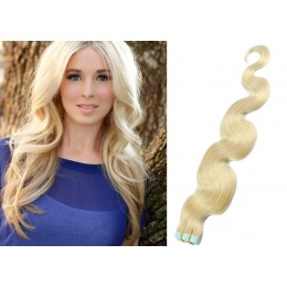 24 inch (60cm) Tape Hair / Tape IN human REMY hair wavy - platinum