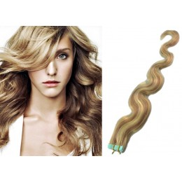 24 inch (60cm) Tape Hair / Tape IN human REMY hair wavy - mixed blonde