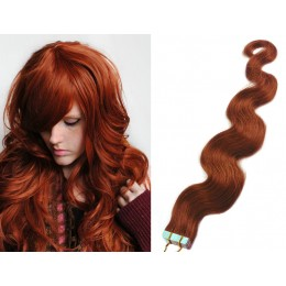 24 inch (60cm) Tape Hair / Tape IN human REMY hair wavy - copper red
