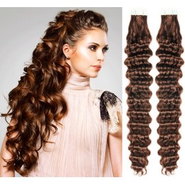 20 inch (50cm) Tape Hair / Tape IN human REMY hair curly - medium brown
