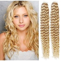 20 inch (50cm) Tape Hair / Tape IN human REMY hair curly - the lightest blonde