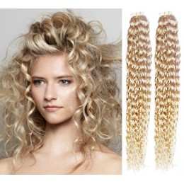 20 inch (50cm) Tape Hair / Tape IN human REMY hair curly - platinum