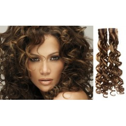 20 inch (50cm) Tape Hair / Tape IN human REMY hair curly - dark brown / blonde