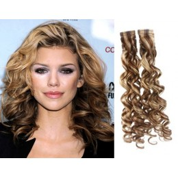 20 inch (50cm) Tape Hair / Tape IN human REMY hair curly - mixed blonde