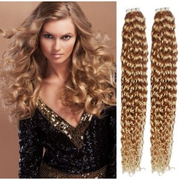 20 inch (50cm) Tape Hair / Tape IN human REMY hair curly - light blonde / natural blonde