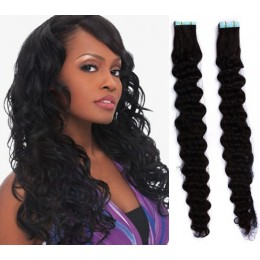 24 inch (60cm) Tape Hair / Tape IN human REMY hair curly - black