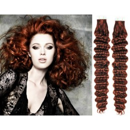 24 inch (60cm) Tape Hair / Tape IN human REMY hair curly - copper red