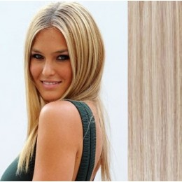 16 inch (40cm) Clip in human hair 100g - platinum/light brown